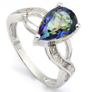 Ring 2.00 Ct Ocean Mystic Gemstone Diamond Silver